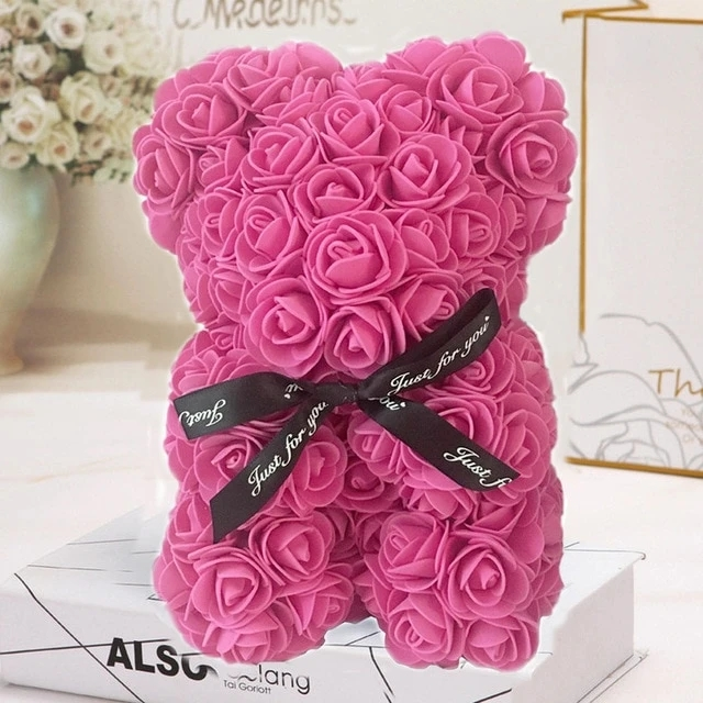 Arosetop  Luxury Handmade Rose Bear Cute Teddy Bear for Valentine's Day