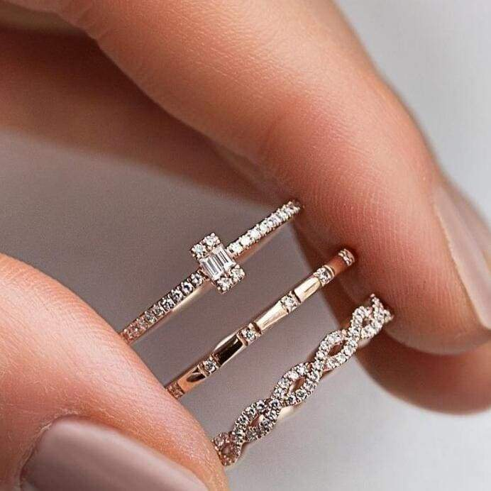 3PCS Charm Crystal Thin Stackable Twisted Ring Set for Women Solitaire Engagement Wedding Rings Band Rose Gold Plated Rings Jewelry Size 6 -9