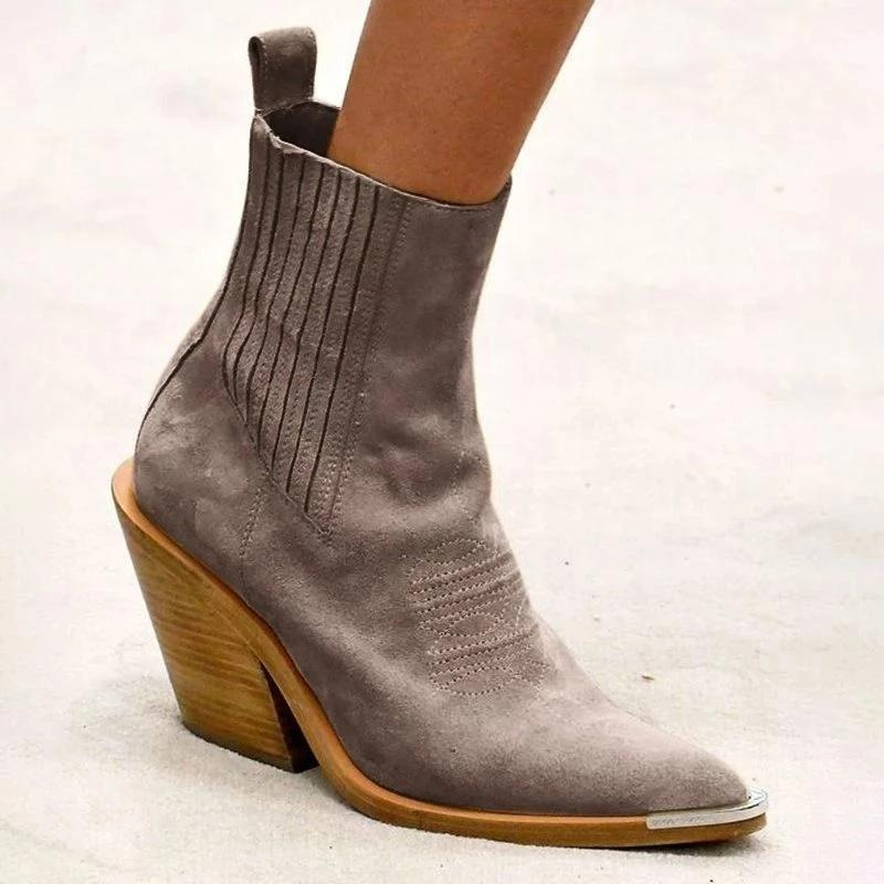 Fashion Pointed Toe Chunky Heel Suede Women Booties