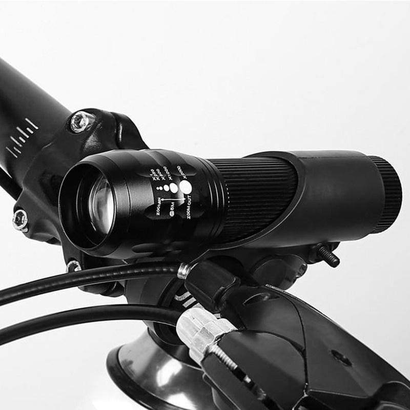 LED Bicycle Light Bike Front Lamp Outdoor Zoomable Torch Headligh with Clip Mount