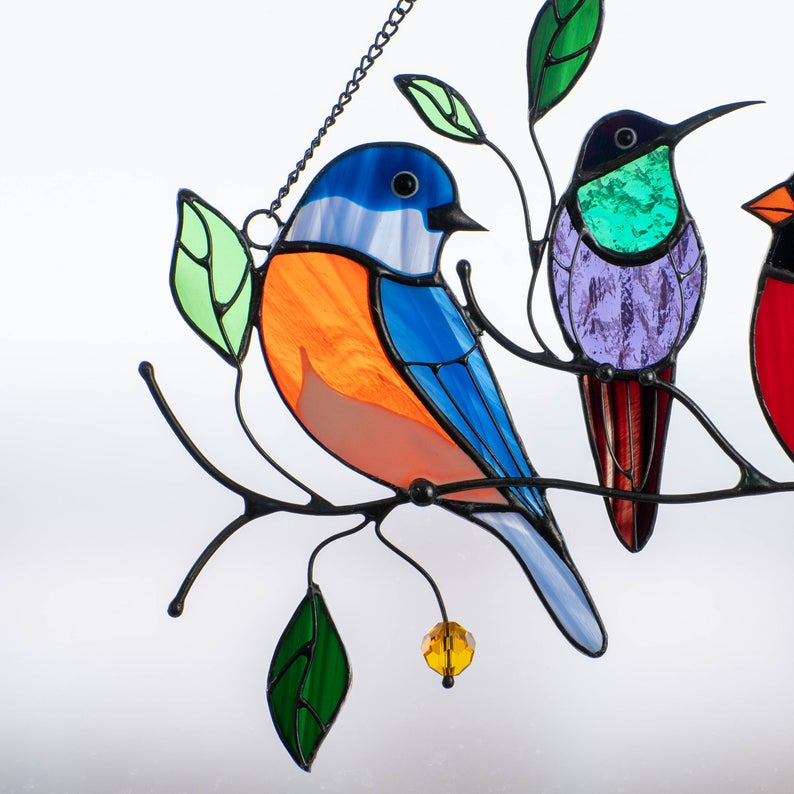 【The Last Week BUY 3 GET 1 FREE】Birds Stained Glass Window Hangings - Mothers Day Gift
