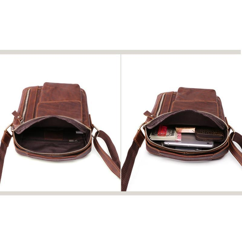 Men's Genuine?Leather Large?Capacity Crossbody Bag
