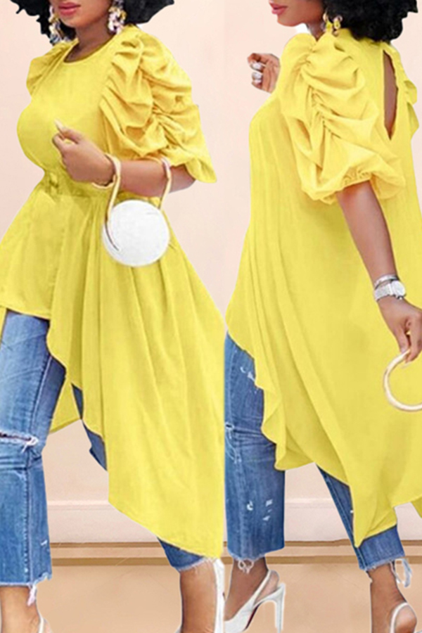 Solid Color Puff Sleeve Shirt