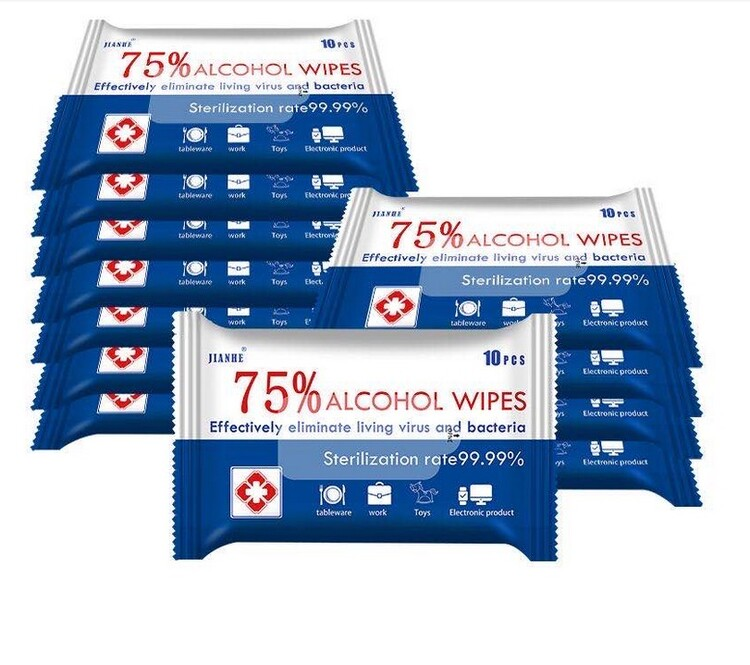 60 pcs/6 Bags Disposalble 75% Alcohol Wet Wipes Health and Safety