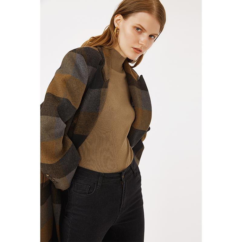 Big plaid vintage color double breasted office wear women long loose casual suit wool blended material-Casual Outwear 2.11