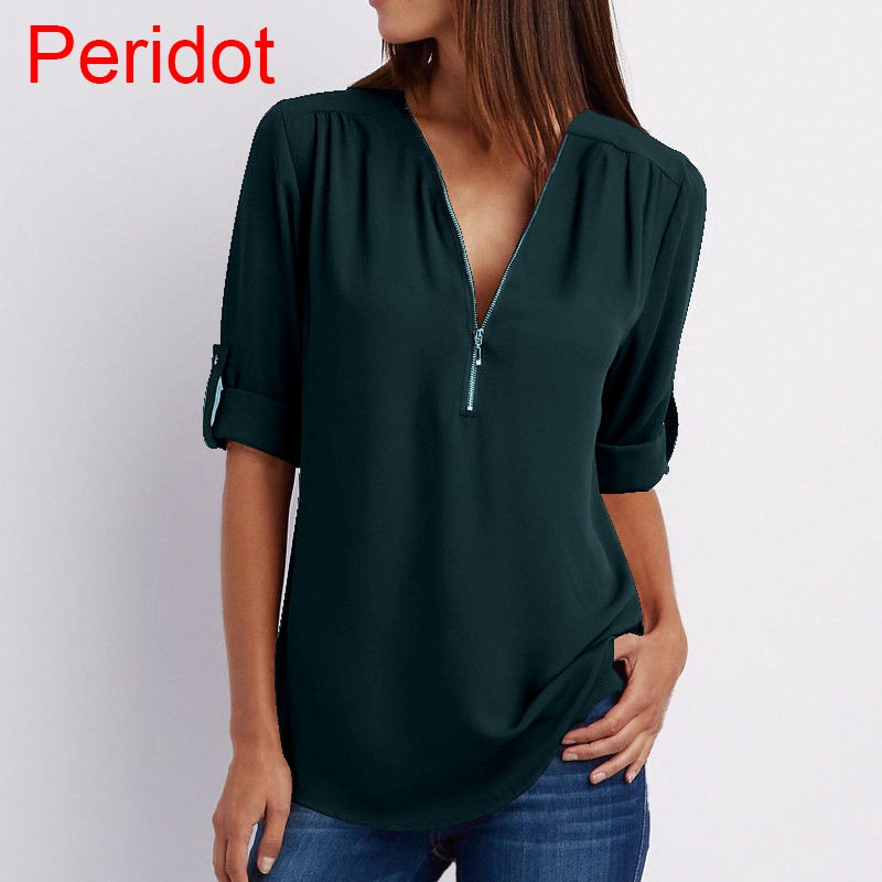 Plus Size Women's Fashion Chiffon Shirt V-neck Long Sleeve Loose Tops Zipper T-Shirt( XS-4XL)