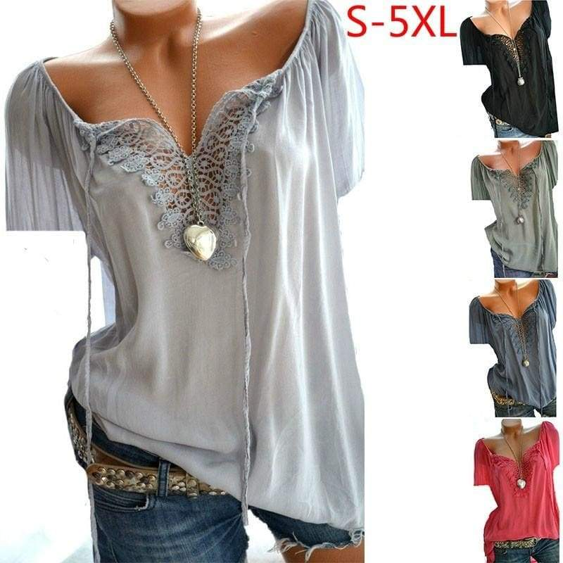 2018 Women's Fashion Short Sleeve Lace Patchwork Tops T-shirts