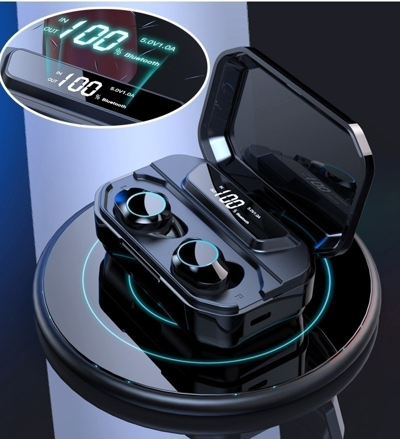 [Adaptive Noise Canceling] TWS Bluetooth 5.0 Mini Wireless Earbuds Touch Control IPX6 Waterproof Earphones Headphones Auto Pairing LED Power Display With 3300mAh Charging Box Power Bank