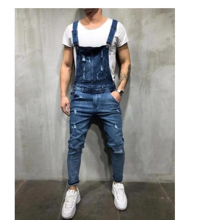 Spring New Men's Casual Fashion Suspender Trousers Overalls Denim Jeans