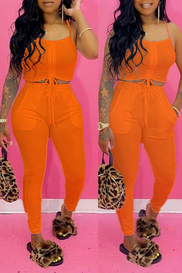 Solid Color Sleeveless Exposed Navel Set