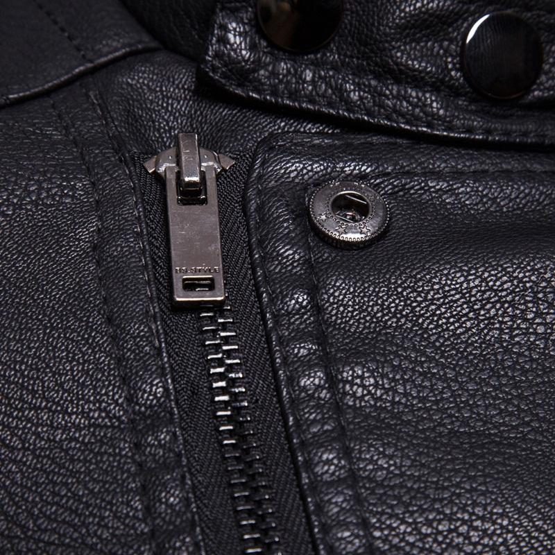 Stand Collar Motorcycle PU Leather Jacket