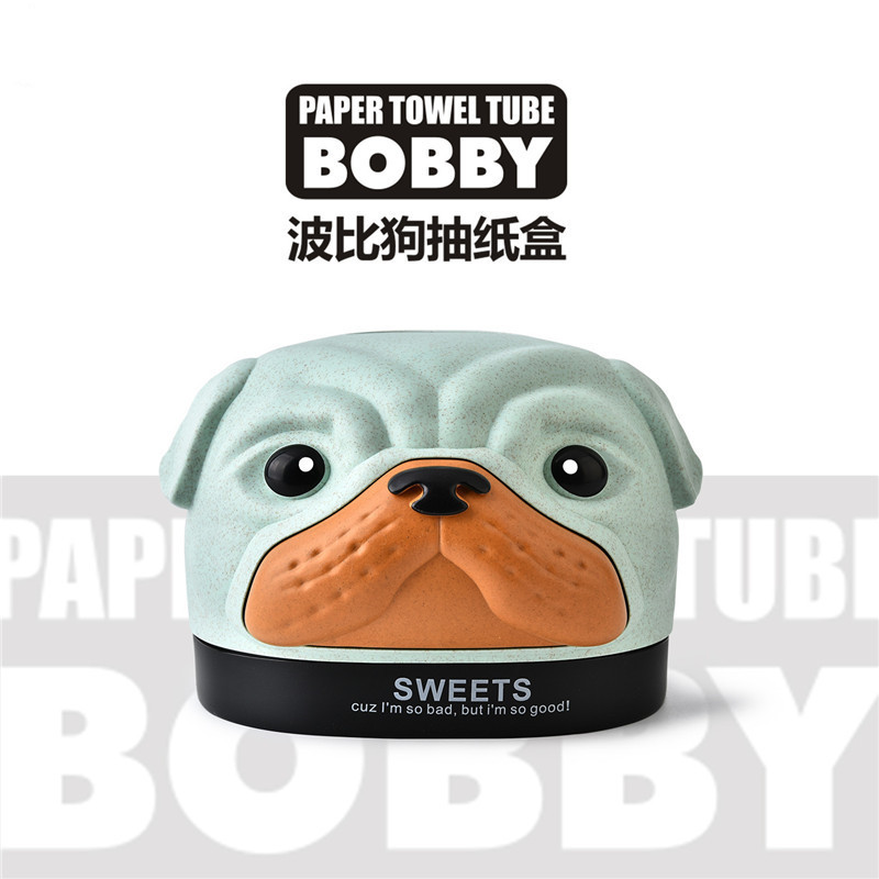 Non-toxic Wheat Materials Paper Towel Box with Lovely Bobby Dog Shape