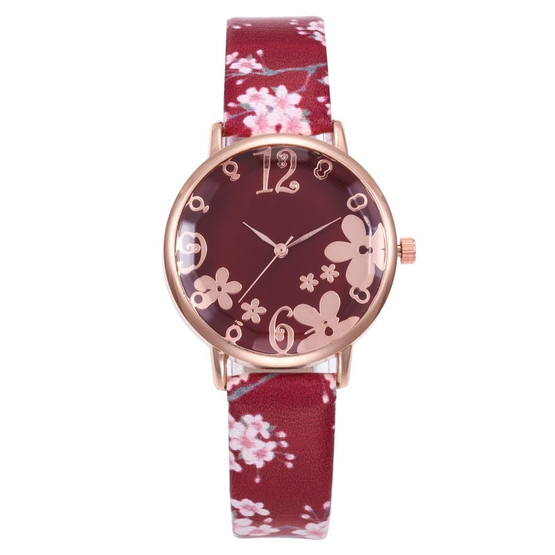 Girl Luxury Watch Women New Fashion Embossed Flowers Small Fresh Printed Belt Watch Face Female Quartz Watch For Women