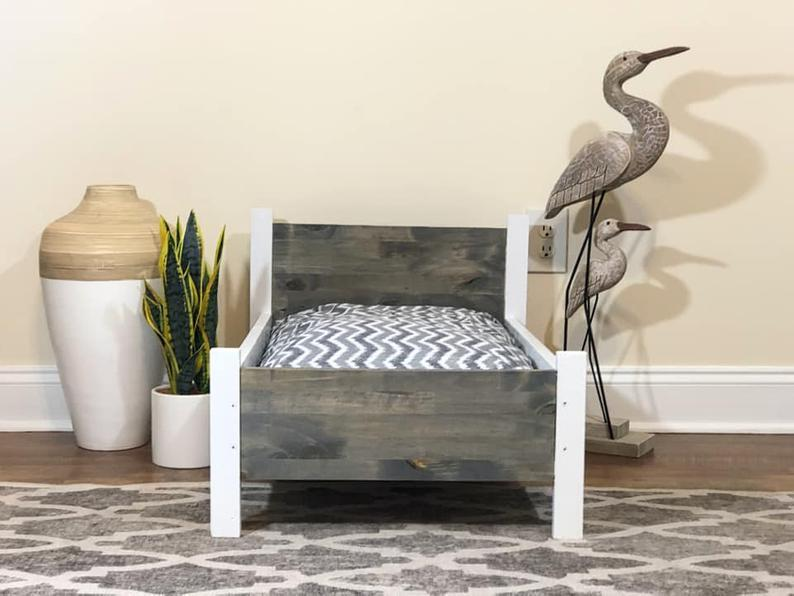 Small Pet Bed , Cat Bed, Dog Bed, Wooden Frame, Handmade, Pet Furniture, Shiplap, Gray , Grey, White, Rustic, Distressed, Luxury, Doll Bed