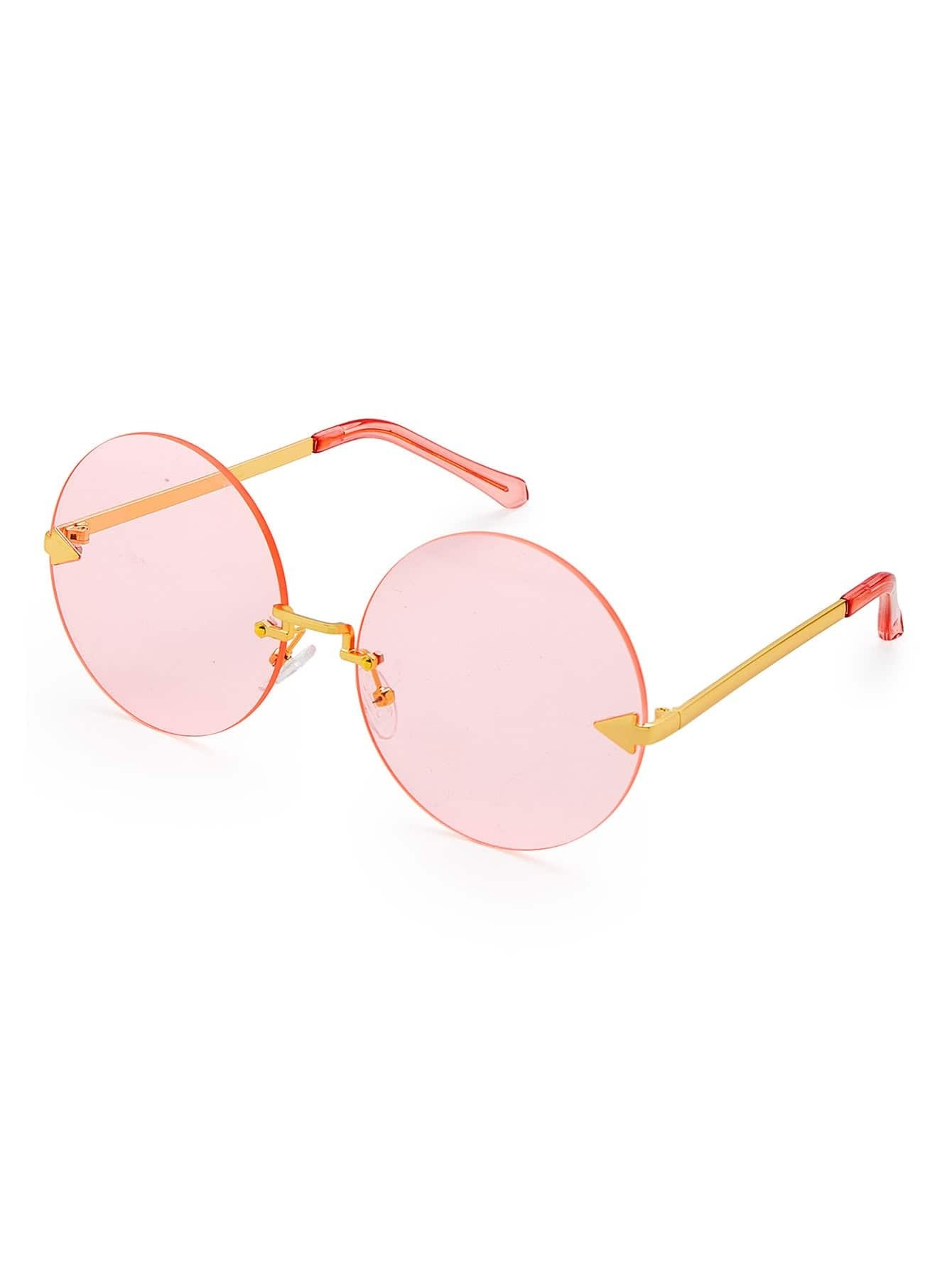 Round Lens Rimless Sunglasses