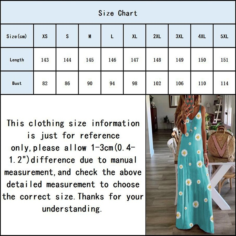 Summer Fashion Womens Deep V-neck Sleeveless Maxi Dresses Ladies Casual Spaghetti Strap Loose Beach Wear Floral Printed Small Daisies Halter Party Dress Plus Size XS-5XL