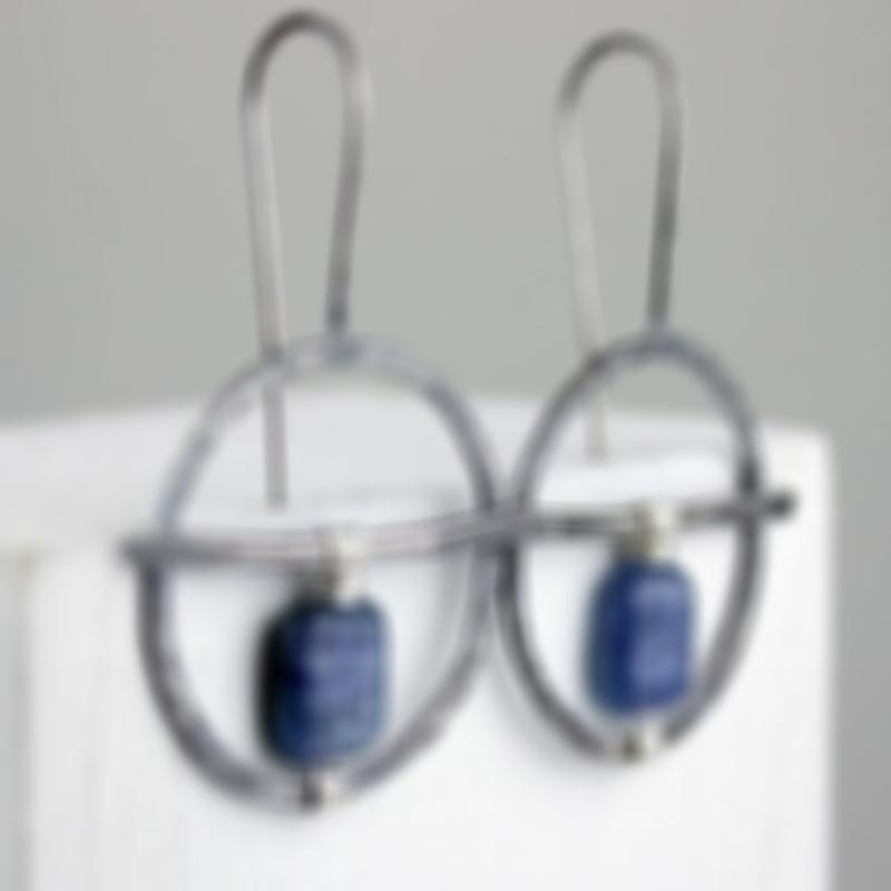 Large Silver Hoop Earrings Hand Wound with Natural Lapis Lazuli Earrings