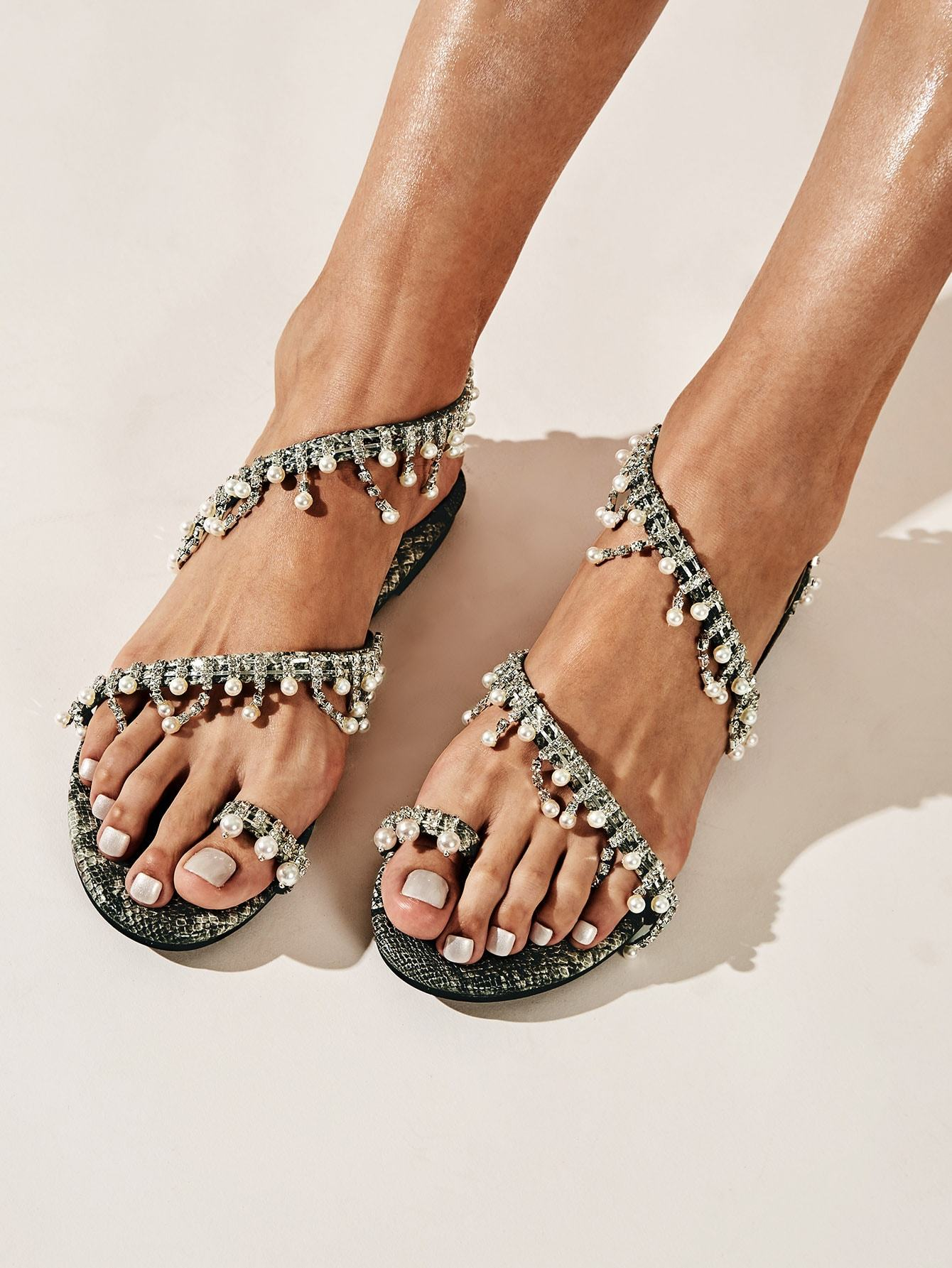 Toe Ring Faux Pearl Decor Flat Sandals