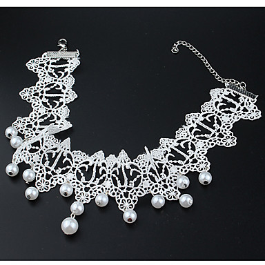 Women's Pearl Choker Necklace Tassel Ladies Tassel Fashion Euramerican Imitation Pearl Lace Pearl White White Necklace Jewelry For Wedding Masquerade Engagement Party Prom Promise Cosplay Costumes
