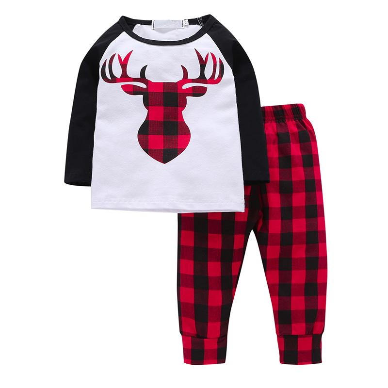 4 styles Baby Boys Christmas elk lattice outfits Top Plaid Pants Set Long Sleeve Brief Styles 2009 Kids girls Clothes B256