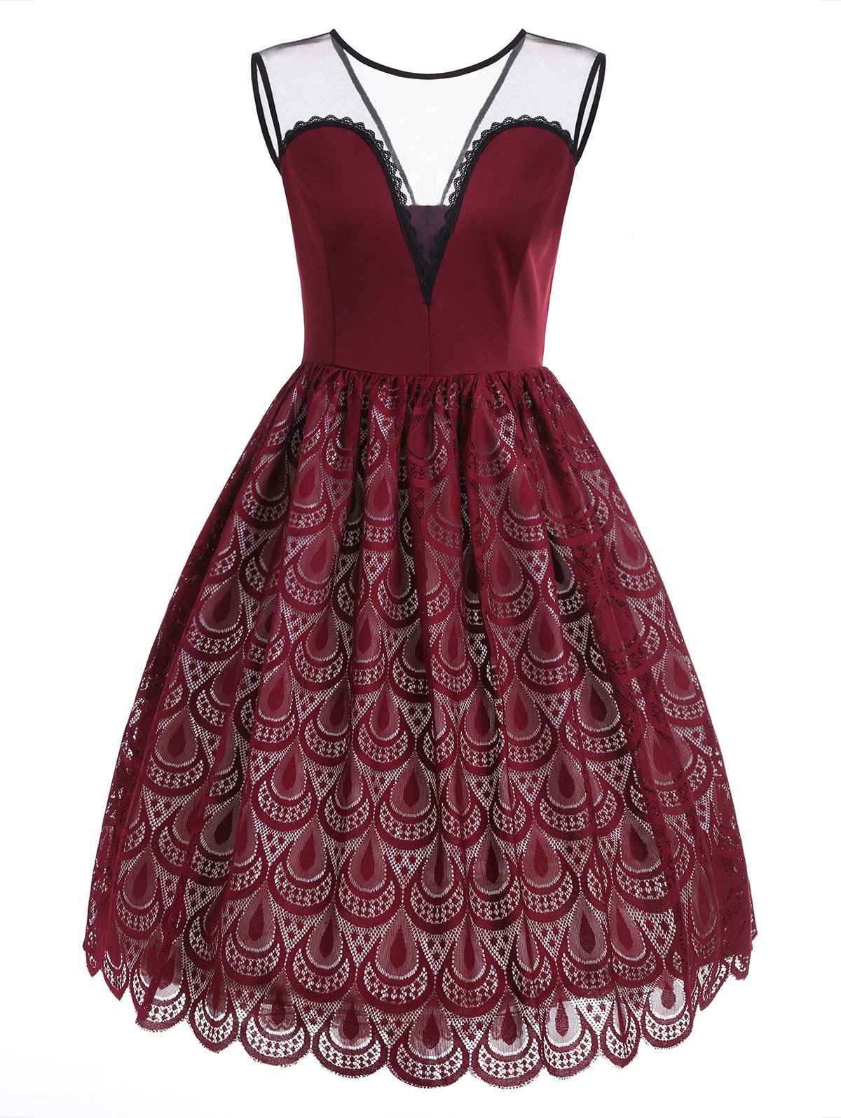 Lace Peacock Feathers A Line Dress - Red Wine - XL