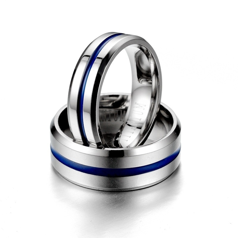 Titanium Steel Couple Ring Fashion Simple Blue Stainless Steel Engagement Wedding Jewelry Size 6-13
