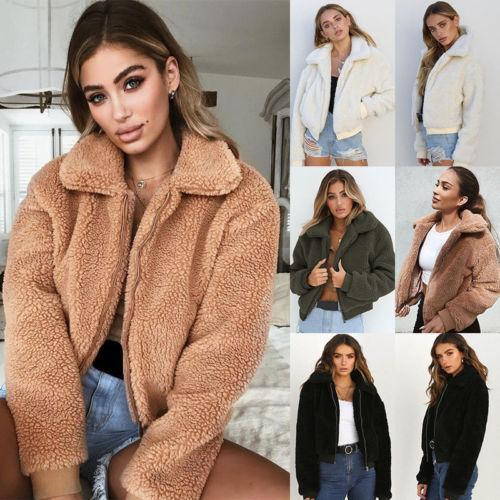 Women Cotton Fluffy Long Sleeve Jacket Ladies Warm Outerwear Cardigan Coat