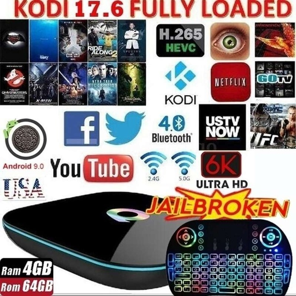 New Upgrade KODI Smart TV BOX Android 9.0 Smart Player TV Box Q BOX All-H6 4G/64G Wifi BT HD+ Free I8 Keyboard