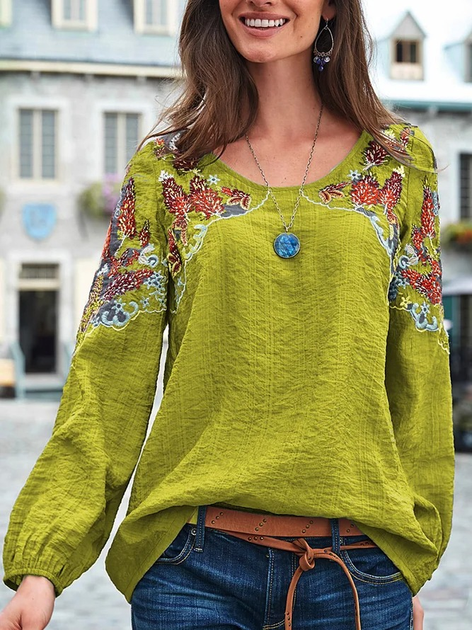 Women Causal Long Lantern Sleeve Embroidery Tops