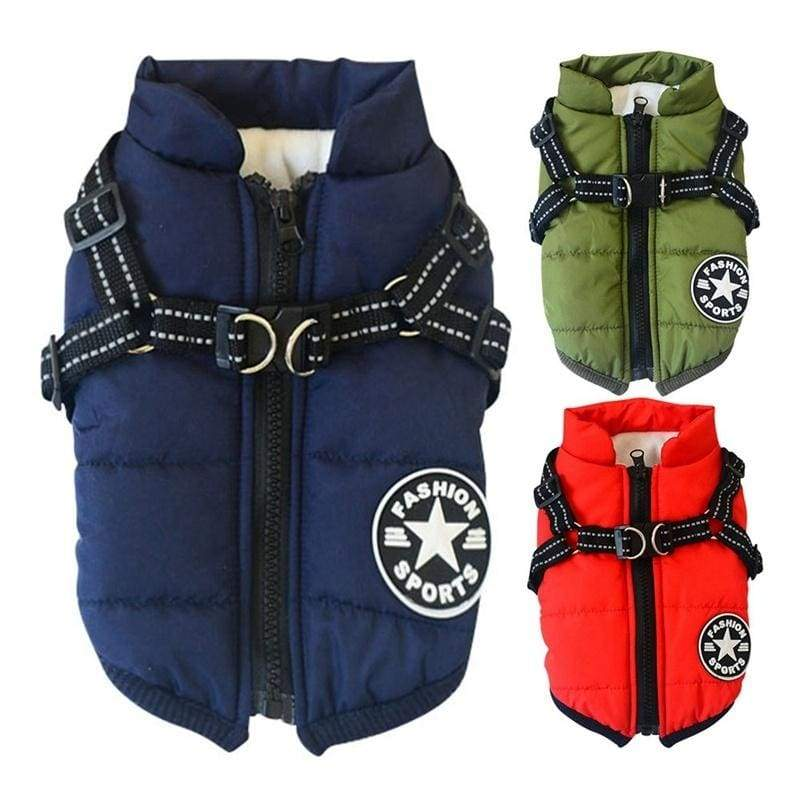 2 In 1 Pet Dog Winter Warm Skiing Costume Coat Vest With Chest Strap Harness Dog Clothes Waterproof Pet  Jackets