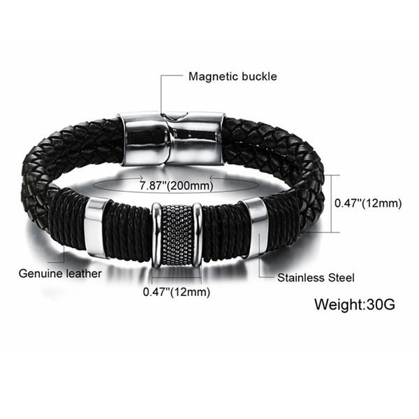 Handmade Genuine Leather Weaved Double Layer Man Bracelets Casual Sporty Bicycle Motorcycle Delicate Cool Men Jewelry PH891