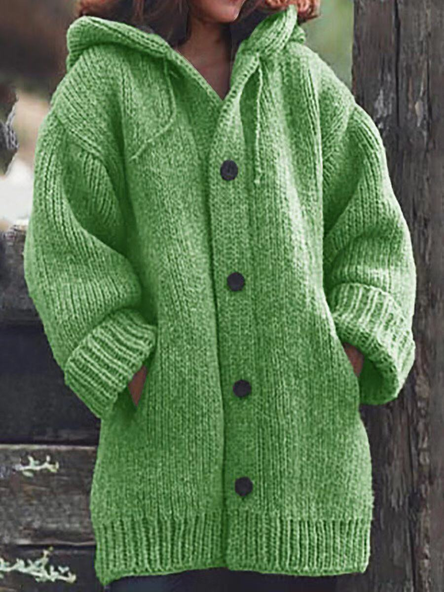 Women's hooded chunky cardigan sweater with pockets knitted button up sweater
