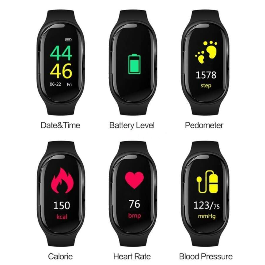 LEMFO M1 Newest AI Smart Watch With Bluetooth Earphone Heart Rate Monitor Smart Wristband Long Time Standby Sport Watch Men Smart Watch And Earphone 2 in 1