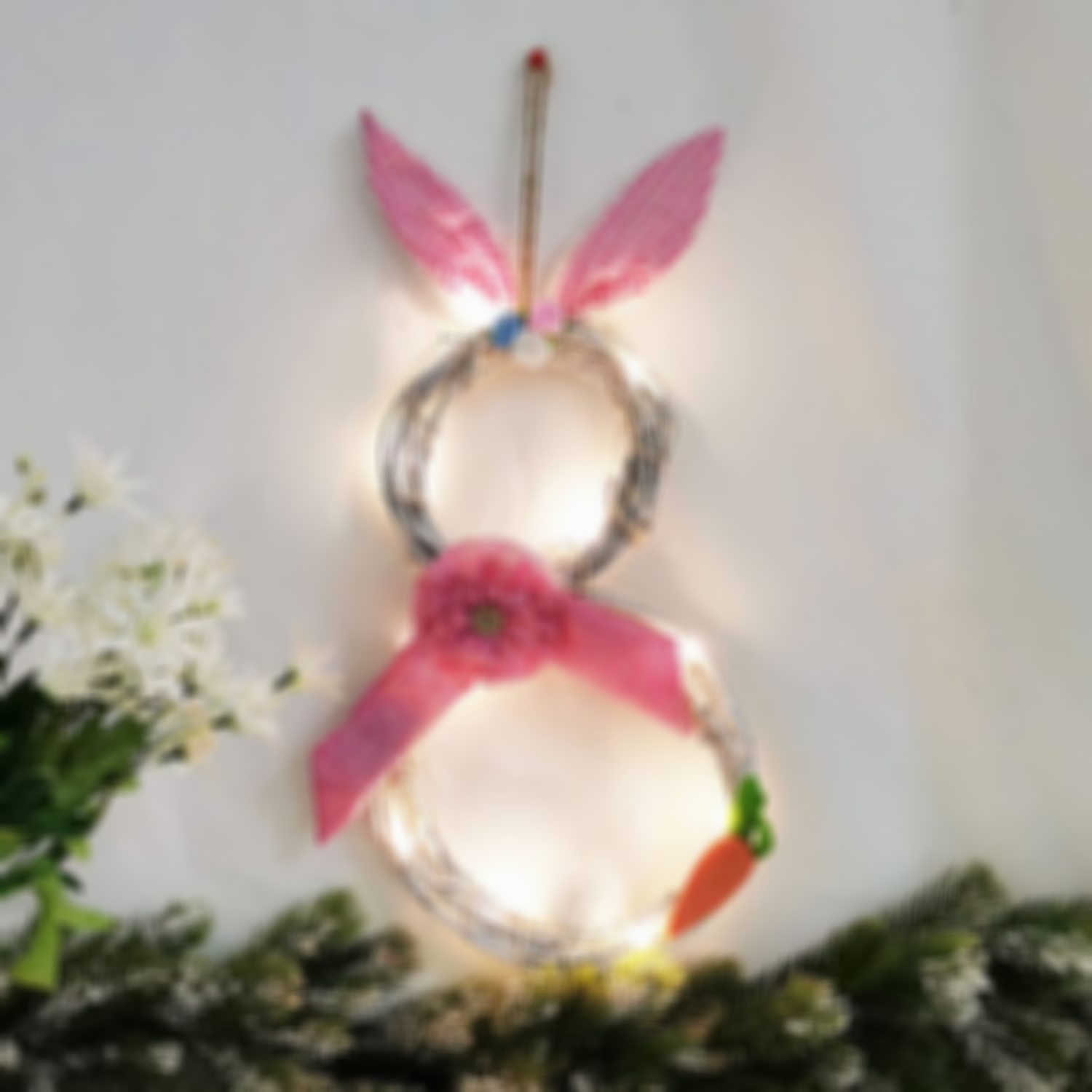 Easter Decorations With Lights Decorating Rattan Circle Wreath Ornaments Cute Bunny Shape Decorations Easter Gifts