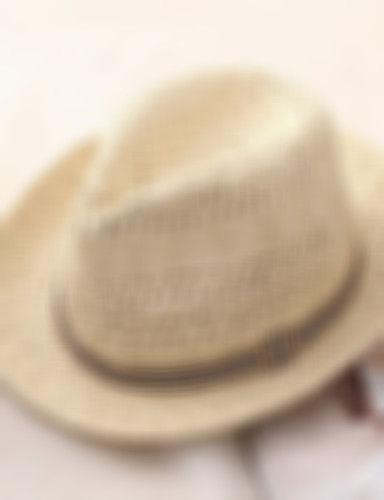 Men's Basic Holiday Straw Straw Hat-Color Block Summer Beige