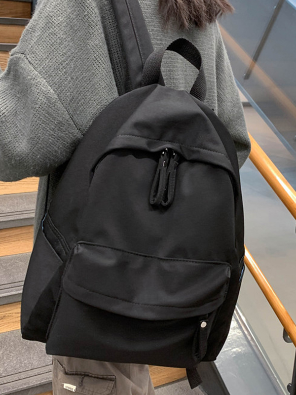 Canvas solid color zipper casual backpack