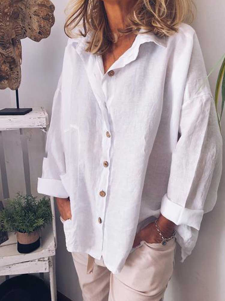 Fashion Casual Cotton and Linen Long Sleeve Shirt