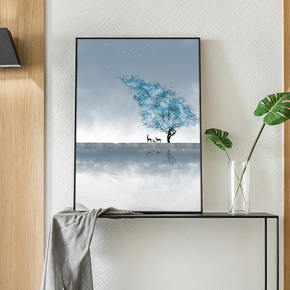 Abstract Blue Tree By The River Modern Hand Painted Oil Painting On Canvas Wall Art Handmade Unframed Art For Home Decoration