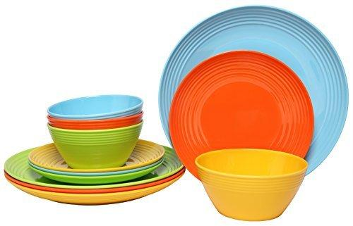 Melange 12-Piece Melamine Dinnerware Set Solids Collection | Shatter-Proof and
