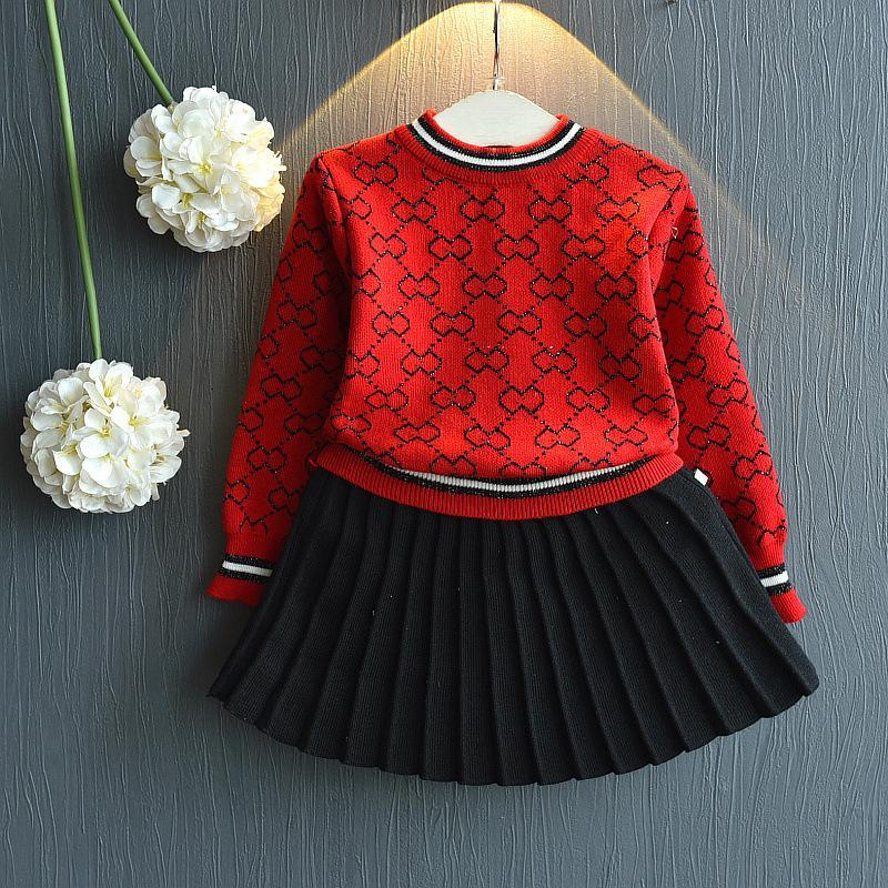 2-pieces Knitted Patterned Sweaters Sets with Skirt