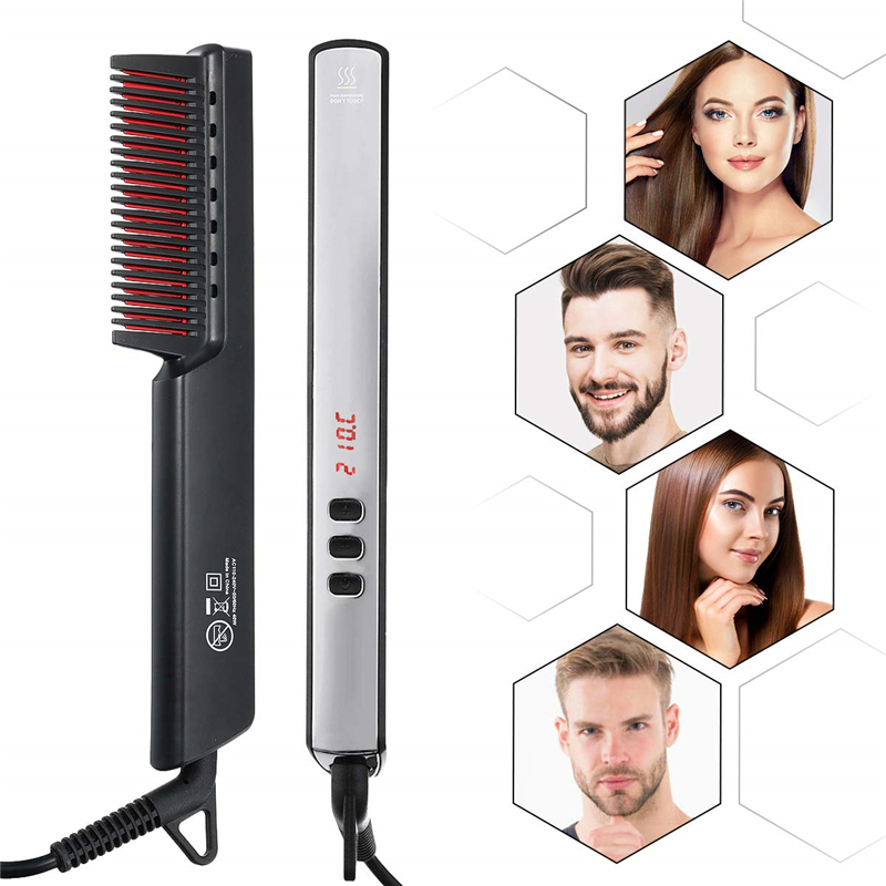 Ionic Electric Hair Straightener Brush with LED Display