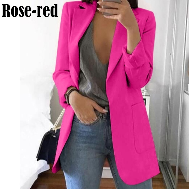 NEW Arrvial Womens Cardigan Jackets Coat Autumn Spring Fashion Long Sleeve Open Front Solid Color Casual Oversized Long Blazer
