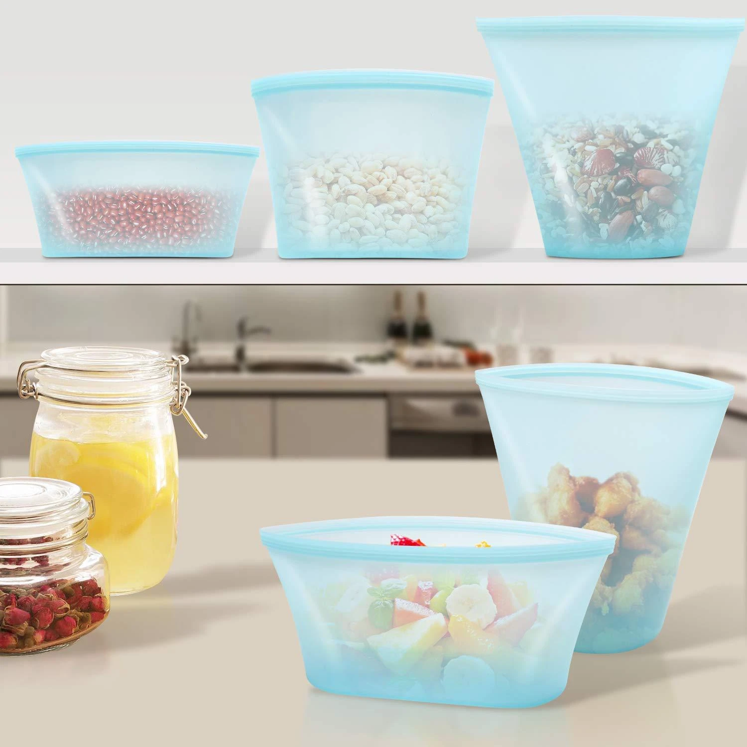 FOODZIP! ™ 6 + 2 ECO REUSABLE CONTAINERS