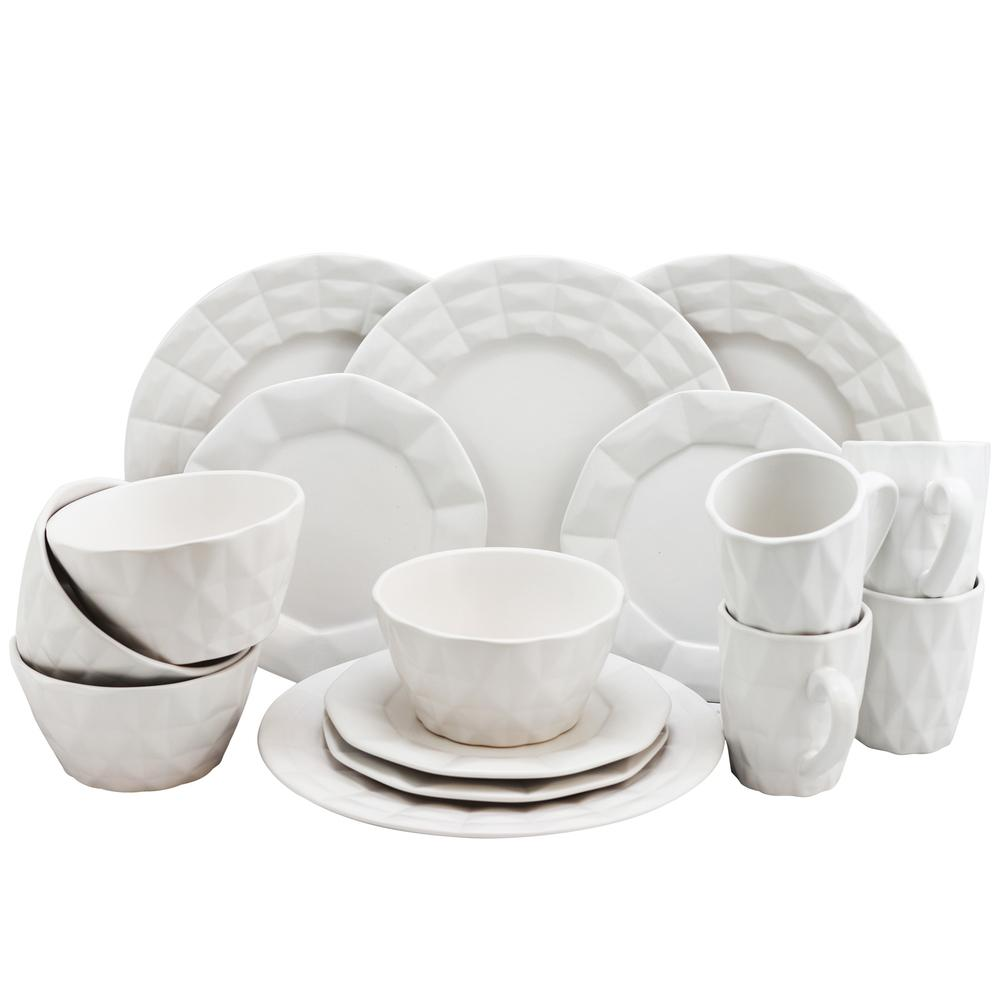 Elama Retro Chic 16 Piece Glazed Stoneware Dinnerware Set in White