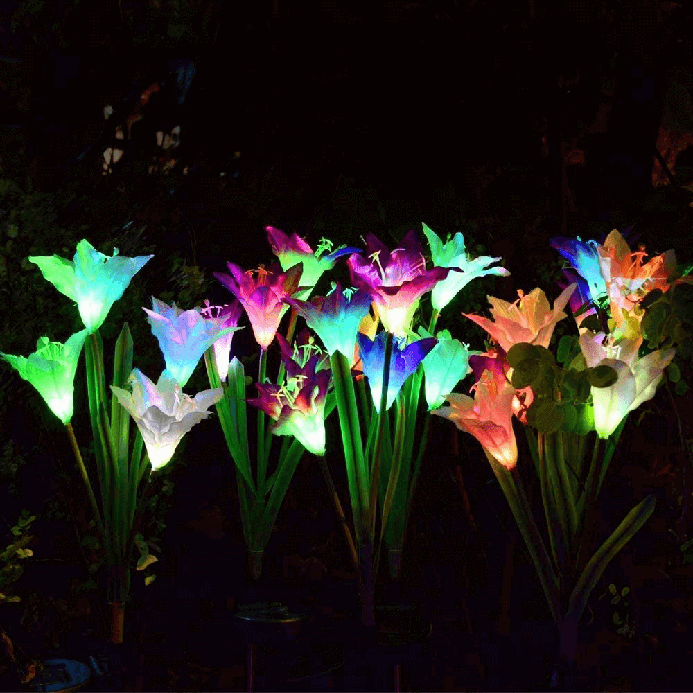 Artificial 4 Lily Flower Outdoor Solar Stake Lights Landscape Lighting