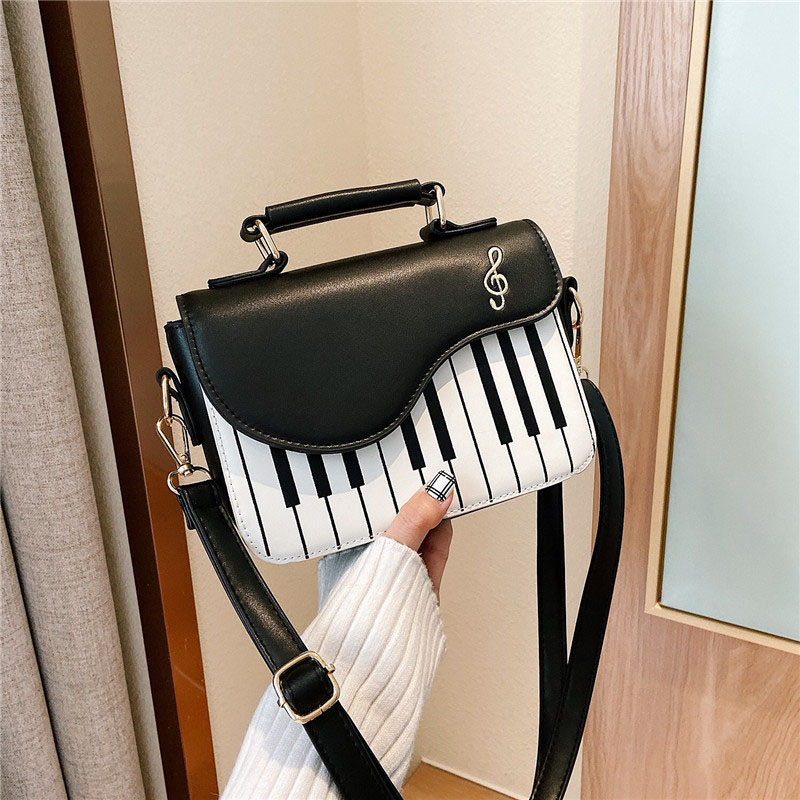 Spring and summer fashion embroidery small square bag All-match girly sweet personality piano notes small satchel