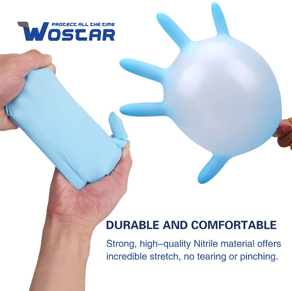 Wostar® Nitrile Disposable Gloves Pack of 100, Latex Free Safety Working Gloves for Food Handle or Industrial Use