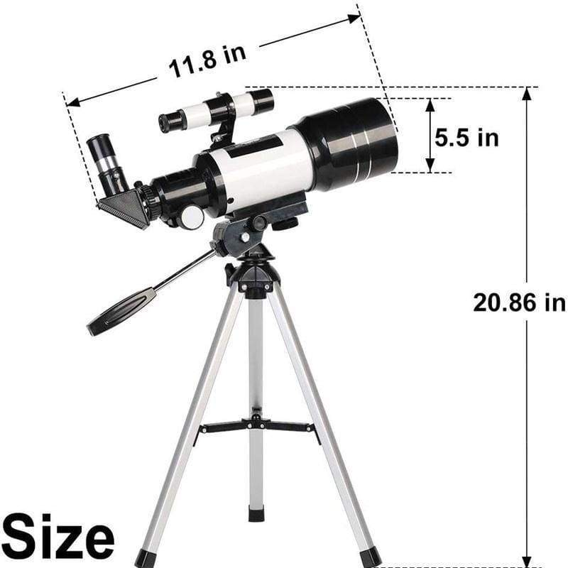 F30070M 70mm Aperture 300mm Astronomical Refractor Astronomical Telescope Tripod Finder Scope- Portable Travel Telescope