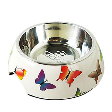 Butterfly Pattern Stainless Steel Food Bowl for Pets Dogs