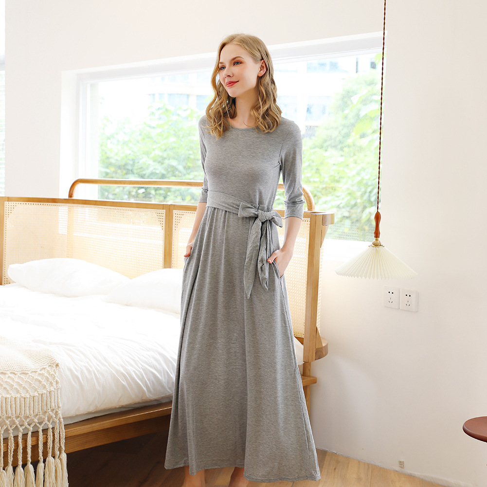 Fall/winter women's solid color long lace round neck sleep dress pajama